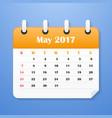 usa calendar for may 2017 week starts on sunday vector image