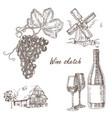 wine set hand drawn bottle of wine glass bunch vector image