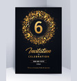 6 years anniversary invitation card template vector image vector image