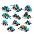 agricultural machines isometric icons set vector image vector image