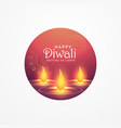 awesome diwali greeting card design with burning vector image vector image