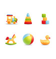 baby first toys realistic icon collection vector image vector image
