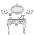 baroque bedside commode furniture rich set vector image vector image