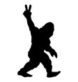 bigfoot sasquatch yeti peace sign silhouette vector image