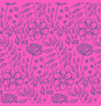 bright pink floral pattern with flowers and herbs vector image vector image