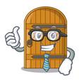 businessman wooden door isolated on character vector image