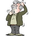 cartoon of a old man there is thinking vector image vector image