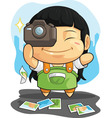 Cartoon of Girl Loves Photography vector image vector image