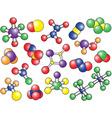 Chemistry background - colored molecule models vector image vector image