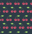 cherries seamless pattern background black vector image