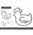 Chicken line icon vector image