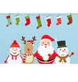 christmas composition with santa claus snowman vector image