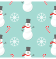 Christmas snowflake candy cane smowman wearing hat vector image vector image
