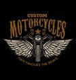 custom motorcycles winged motorbike on black vector image vector image