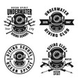 diving school or club set of four emblems vector image