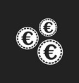 euro coins icon in flat style coin on black vector image vector image