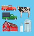 farm set of cartoons vector image