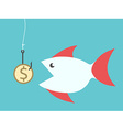 Fish eating dollar bait vector image