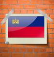 Flags Liechtenstein scotch taped to a red brick vector image vector image