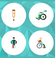 flat icon cripple set of handicapped man injured vector image vector image