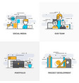 flat line designed concepts 4-colored vector image vector image