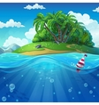 Float in the water at the island background vector image vector image