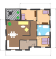 Floor plan of house colored doodle style vector image vector image