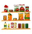 food in different packages on shelves vector image