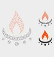 gas burner jet flame mesh network model and vector image vector image