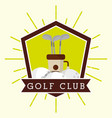 golf club bag and balls label grunge style vector image vector image
