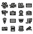 gray video and camera icons set vector image vector image