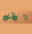 green paper cut eco plant leaf bike concept vector image