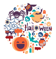halloween circle design vector image vector image