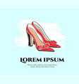 hand drawin shoes on a high heel on mint vector image vector image