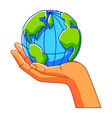 hand holding earth ecology vector image