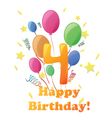 Happy Birthday four years no background vector image vector image