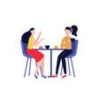 happy flat girls friends drink tea together vector image