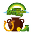 happy st patricks day cauldron horseshoe coin and vector image