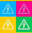 high voltage danger sign four styles of icon on vector image vector image
