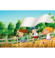 Kids at the woods with an empty banner vector image vector image