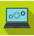 Laptop with gears icon flat style vector image vector image
