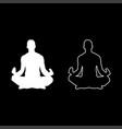 meditating man practicing yoga symbol icon set vector image