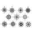 Nautical wind rose and compass icons set