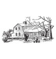 one-storied gambrel roof attractive vintage vector image vector image