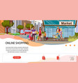 online shopping flat landing page template vector image