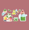 people drinking matcha tea stickers set male vector image
