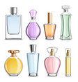 perfume glass bottles colorful realistic vector image