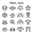robot icon set in thin line style vector image