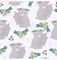 seamless pattern with cute mom hugging babear vector image vector image