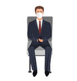 seating or waiting businessman with face mask vector image